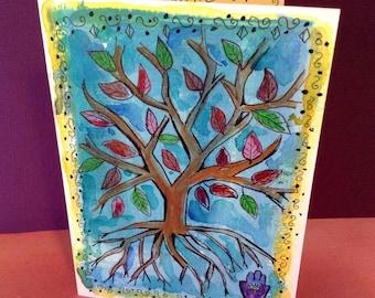 Tree of Life Card, Hand Painted Card, Tree Art, Tree of Life Painting, Jewish Cards, Handmade Card, Original Painting, Hamsah Hand Evil Eye