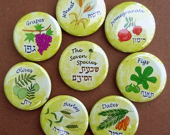 The Seven Species, Jewish Art, Jewish Gift, Shavuot, Judaica Art, Fruit Illustration, Fig, Olive, Pomegranate, Wheat, Dates, Grape