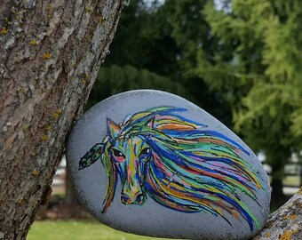 Colorful Horse Painted Rock