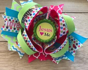 Easter Jesus Loves Me Hair Bow bottle cap!!!