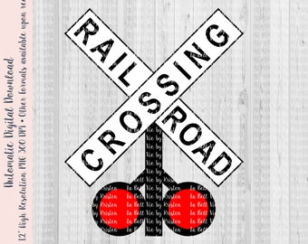 3dRose Jos Fauxtographee T-Shirts Railroad Crossing Sign with The Tracks Off to The Side Railroad Sign with Tracks