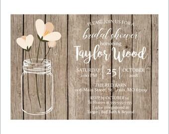 Digital Rustic Mason Jar Bridal Shower Invitation