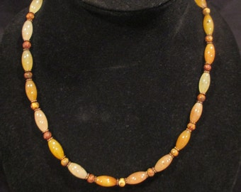 Warm earth colored agate necklace with Tibetian style beads