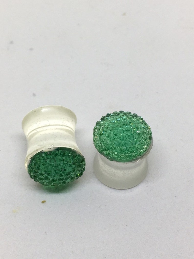 plugs 38 Green gem double flared plugs gauges 00g double flared 10mm