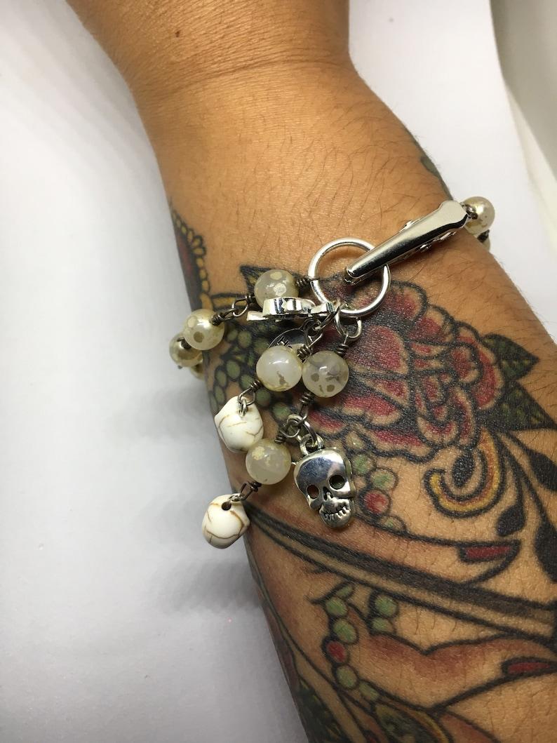 Skull bracelet Alligator Clip bracelet beaded bracelet sliver bracelet roach clip bracelet