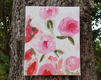 Scattered Roses, Original Acrylic Painting on Canvas, Roses