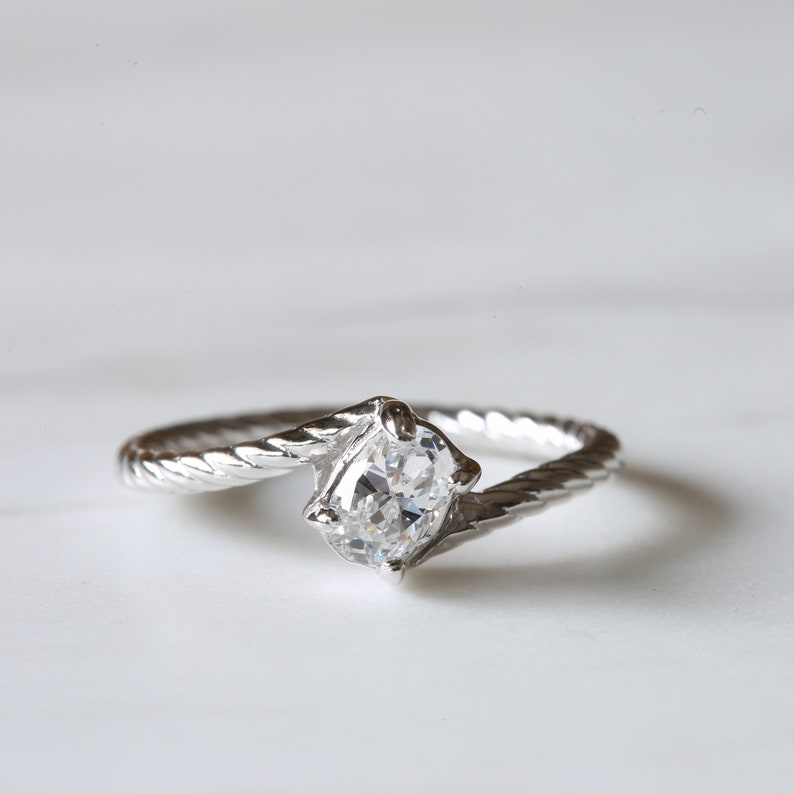 0.50 Carat Twisted Band Solitaire Engagement Ring Oval Cut Simulated Diamond Engagement Ring E33 Diamond Sterling Silver Wedding Ring