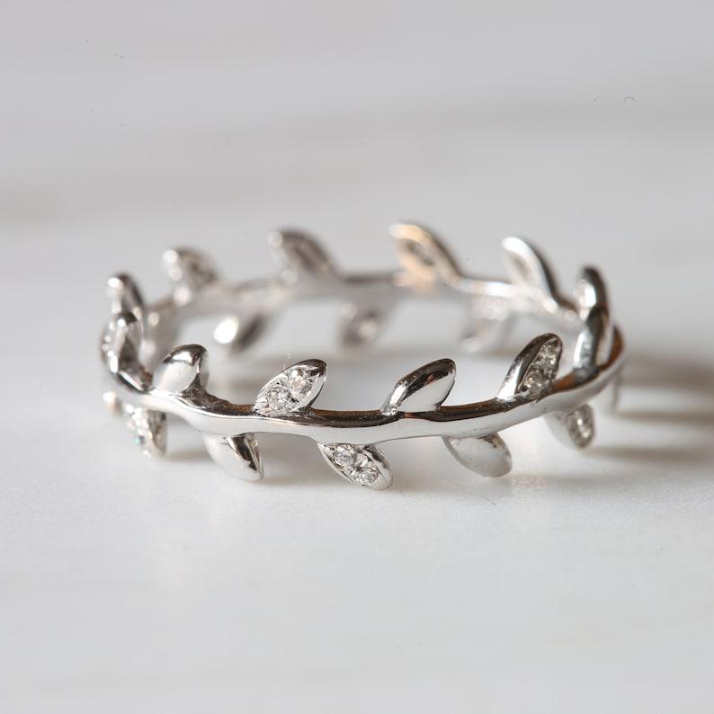 Full Eternity Leaf Band B39 Diamond Sterling Silver Wedding Band Round Cut Simulated Diamond Eternity Band