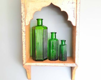 Antique Chemist Poison Bottle, Old Green Glass Apothecary Bottle, Bathroom and Pharmacy Decor
