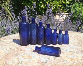 Antique Blue Chemist Poison Bottles, Bristol Blue Glass, 1800's Apothecary Bottle, Blue Bottle