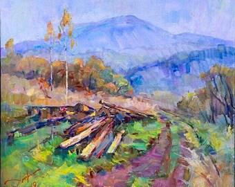 Original oil painting, Large wall art, Impressionist art, landscape, oil on canvas, Mountains, Ukrainian art, Wall Decor, Farmhouse decor