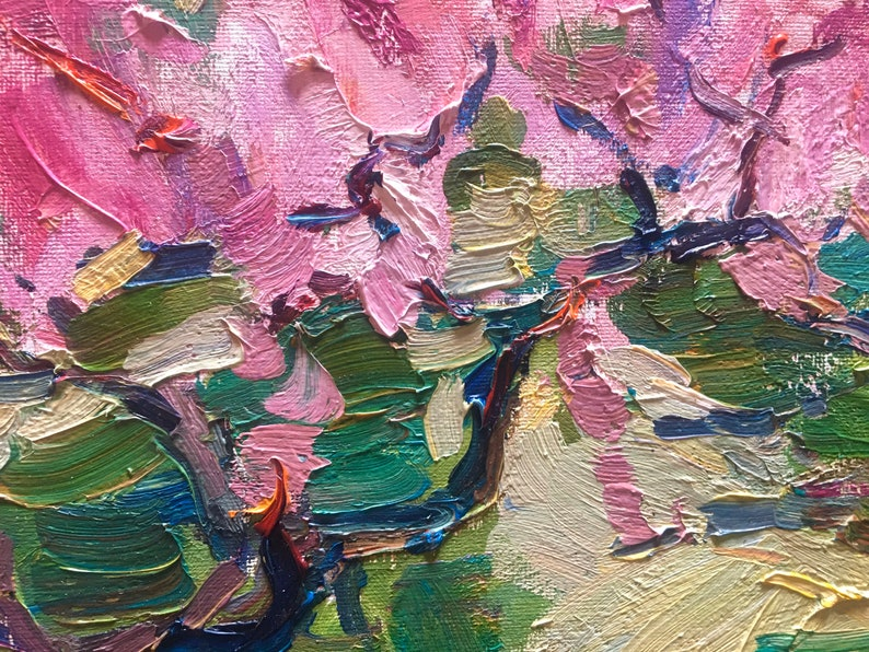 Spring Original oil painting Impressionist art piece Rural Landscape Ukrainian Pink Trees blooming painting Wall kitchen Art Wall oil Art