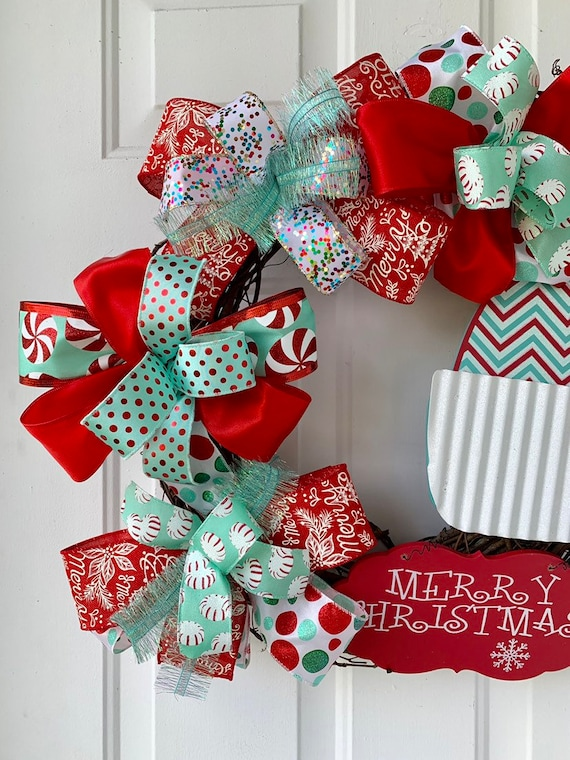 Merry Christmas Wreath For Front Door Christmas Hat Sign Red Aqua White Teal Colors Holiday Swag Happy Holidays Home Decor Gift Ideas
