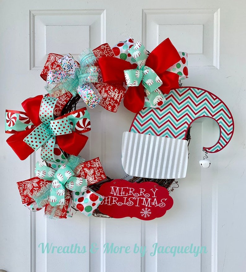 Merry Christmas Wreath For Front Door Christmas Hat Sign Red Etsy