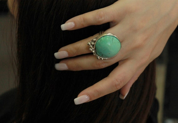 modern ring open silver ring Greek jewelry adjustable ring gift for her Silver ring with green turquoise stone gift for wife