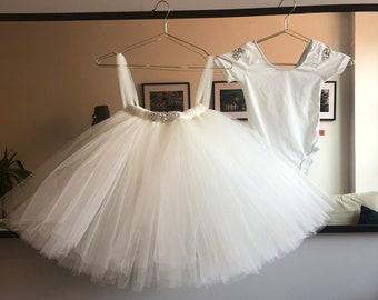 9a3abef4c Ivory Embellished Tutu, Girls Tutu, Flower Girl Tutu, Flower Girl Dress,  Christening Tutu, Bridesmaid Tutu, Wedding Tutu, Midi
