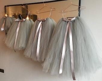 Long Grey Tutu,  Flower Girl Dress, Flower Girl Tutu, Silver Grey Tutu, Girls Tutu, Bridesmaid Tutu, Adult Tutu, Wedding Tutu, Tulle Skirt