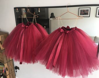 88ced47341 Maroon Tutu, tutu, girls tutu, flower girl tutu, flower girl dress,  bridesmaid tutu, adult tutu, wedding tutu, silver tutu