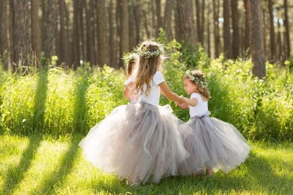 Long Grey Tutu, Flower Girl Dress, Flower Girl Tutu, Silver Grey Tutu, Girls Tutu, Bridesmaid Tutu, Adult Tutu, Wedding Tutu