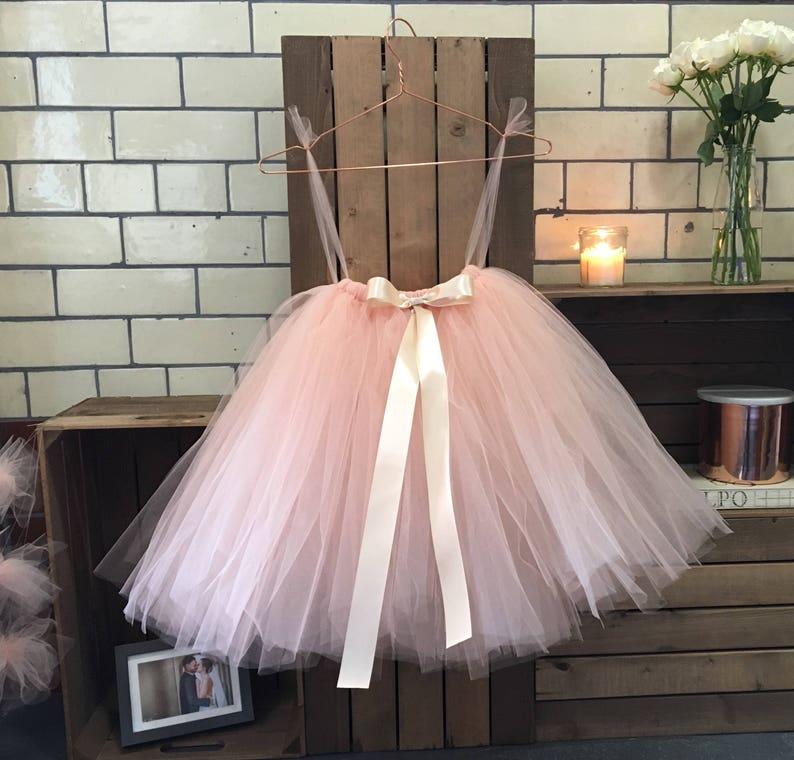 Flower girl nude tulle tutu skirt flower girl dress
