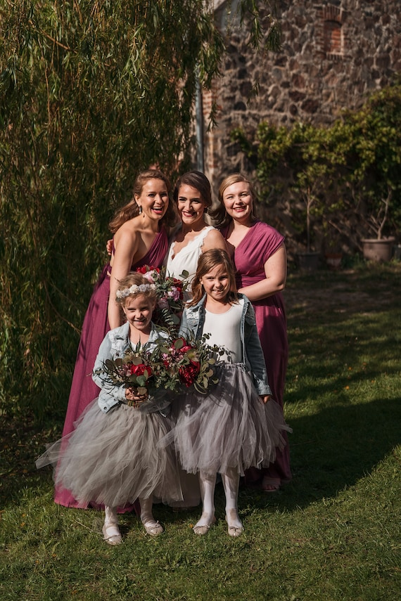 Long Grey Tutu, Flower Girl Dress, Flower Girl Tutu, Silver Grey Tutu, Girls Tutu, Bridesmaid Tutu, Wedding Tutu, Tulle Skirt