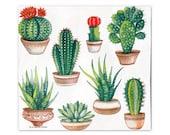 2 (TWO) Cactus Succulent 6.5 quot Luncheon Napkins Tissue - Collage Decoupage Scrapbook Mixed Media Tissue