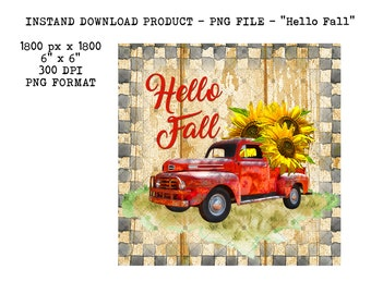 Fall Sign for Wreath Red Truck Sign Sunflowers and Pumpkin Sign Pumpkin Kisses and Autumn Wishes Wreath Decor Fall Farmhouse Sign SHO94