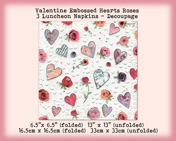 16 x Gold Hearts Valentines Day Napkins Hearts Luncheon Heart Napkins