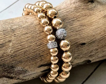 1a363ef32 Gold Filled Bead Ball Bracelets, 6mm or 8mm 14K Gold Filled Beads, Sterling  Silver CZ Diamond Ball, Gold Ball StackStretch Bracelets, Beaded