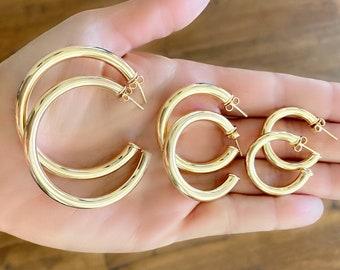 18K Gold Filled Thick Hoop Gold Hoop Earrings- Gold Hoops Gold Thick Open Hoop Earrings Simple Thick Hoops