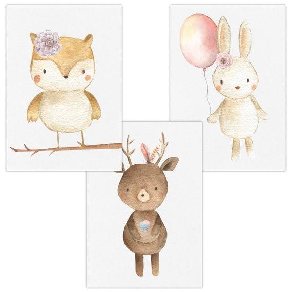 Wandbilder 3er Set Fur Baby Kinderzimmer Deko Poster Kunstdruck Din A4 Ohne Rahmen Und Dekoration W18 Eule Reh Hase Madchen