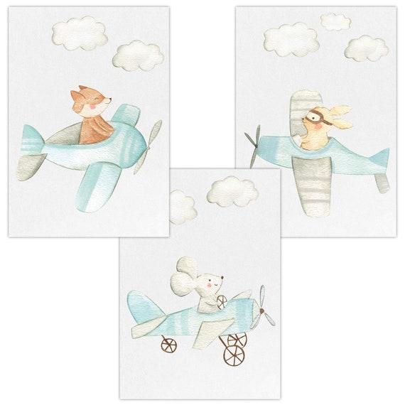 3er Set Wandbilder Baby Kinderzimmer Deko DIN A4 Poster W17 Ballerina Hase rosa