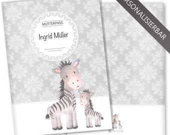 Mother's passport cover 3-piece motif black & white zebra nut passport sleeve Pregnancy gift idea personalizable by name (Zebra)