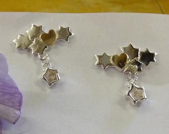 Celestial earrings, hearts n stars earrings, heart n stars crystal dangle studs silver and gold heart earrings, sterling gift for her, stars