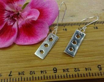 star dangle earrings, stars earrings, silver star drop earrings rectangle earrings, rectangle drops, sterling gift for her, stars