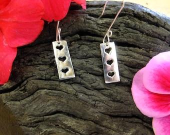 Heart dangle earrings, hearts earrings, silver heart drop earrings rectangle earrings, rectangle drops, sterling gift for her, hearts