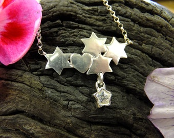 Celestial necklace, hearts and stars necklace crystal dangle necklace, silver necklace, heart necklace, sterling, gift for her, stars