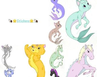 9 piece sticker set, 1inch round stickers, merpets, merhorse, purrmaid, seapups,