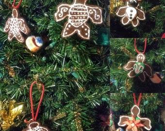 Gingerbread sea turtle Christmas tree ornaments box set