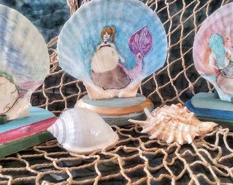 Mermaid shell art,painted shells,mermaid painting,