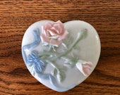 Heart Shaped Musical Trinket Box Pink Roses Plays Love Story Melodies The Celebration Collection Heritage House Fine Porcelain