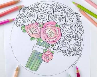 Adult coloring page Roses | Flower Coloring Page for Adults | Digital Coloring Hand Drawn Flowers Line Art by Olga Zaytseva