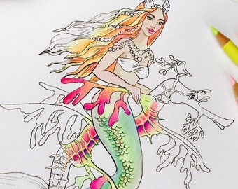 Erwachsenen Malseite Meerjungfrau Meerjungfrau Malvorlagen Etsy
