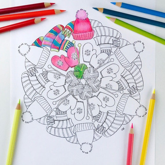 Winter Mandala Coloring Page Printable Winter Coloring Page Etsy