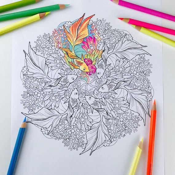 Mandala Coloring Seite Goldfisch Malvorlagen Für Erwachsene Etsy