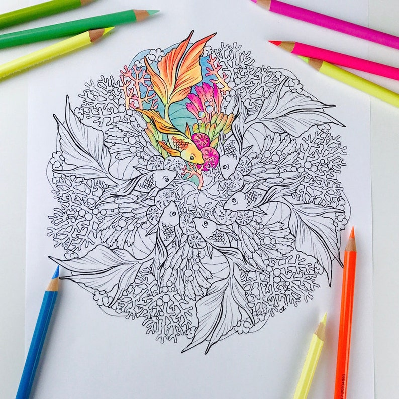 Mandala Coloriage Poisson Rouge Page Coloriages Pour Adultes Obtenez Bien Bientôt Mandala Colorier à La Main Dessiné Ligne Art Numérique Par Olga