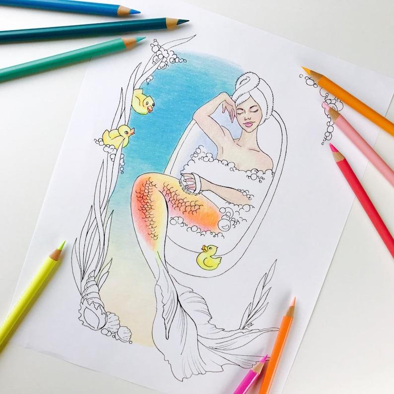 Kleurplaten Fantasie Volwassenen.Volwassen Kleurplaten Pagina Zeemeermin Kleurplaten Pagina Voor Volwassenen Fantasie Zeemeermin Digitale Kleuren Hand Drawn Lijntekeningen Door Olga