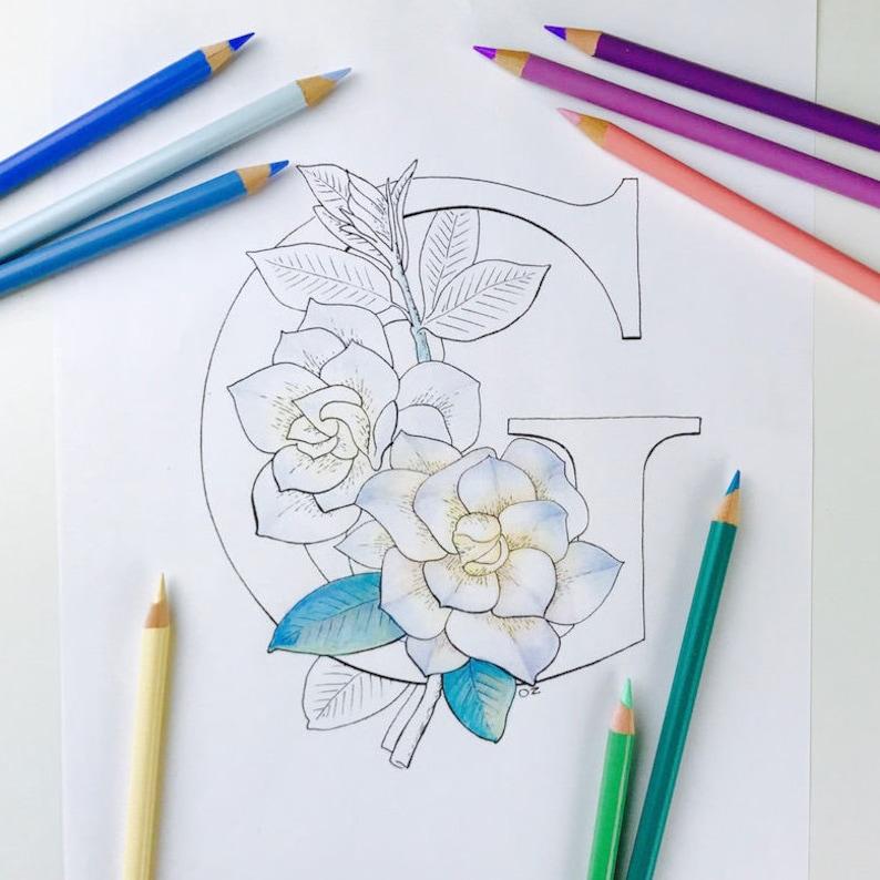 Coloriage Alphabet Fleur.Alphabet Coloriage De Fleurs Gardenia Coloriage Lettres Etsy