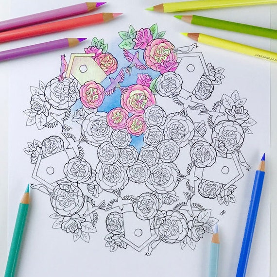 Mandala Da Colorare Di Primavera Mandala Stampabile Etsy