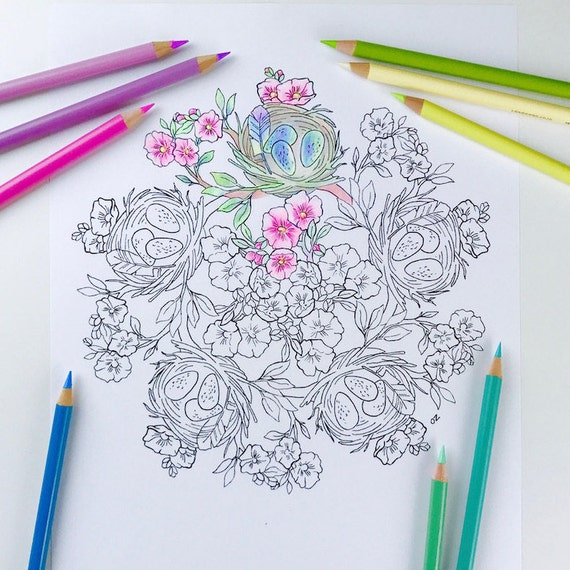 Mandala Coloring Page Spring Coloring Page for Adults  Easter